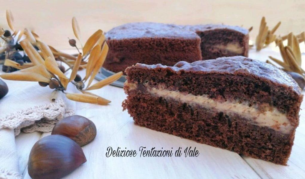 torta versata al cioccolato con crema di castagne