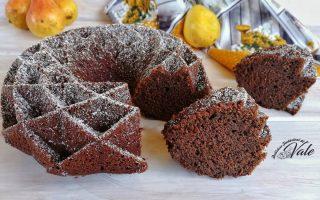 torta di pere frullate e doppio cioccolato