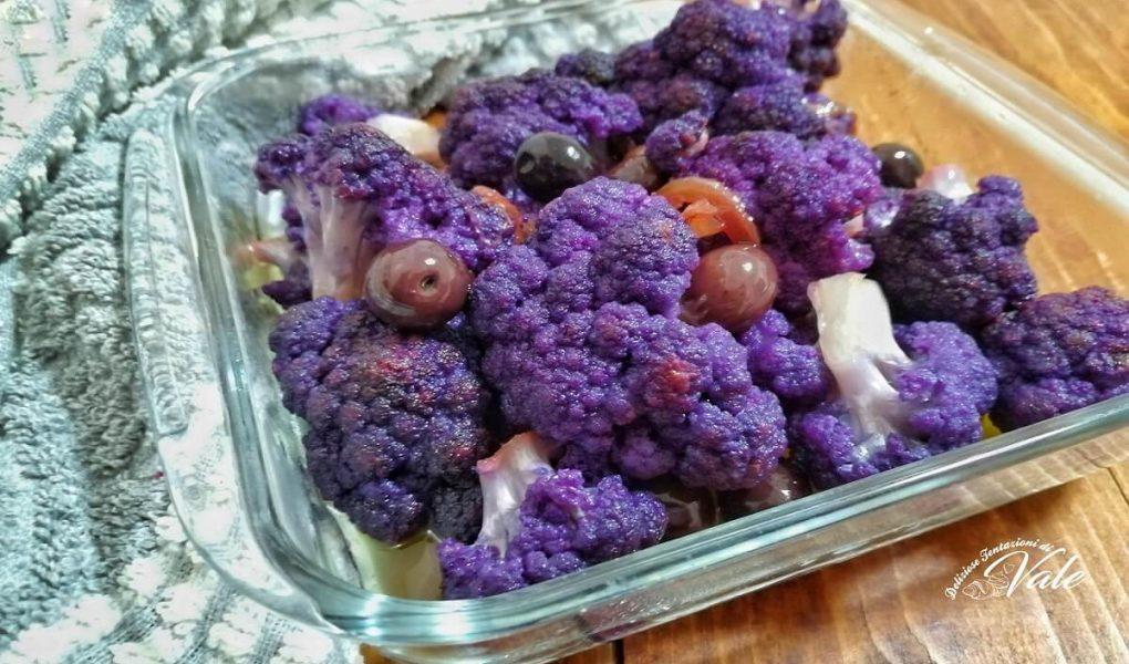 Cavolfiore Viola con Cipolle e Olive Nere
