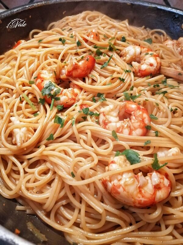 Spaghetti con Gamberoni al Cognac