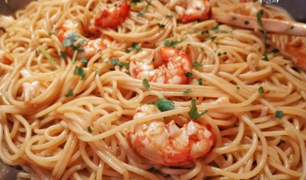 Spaghetti con Sugo di Gamberoni al Cognac