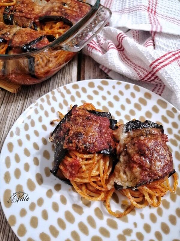 Involtini di Melanzane con Spaghetti al forno