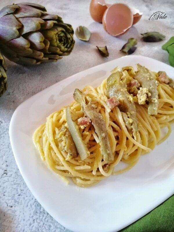 Spaghetti con Carbonara di Carciofi