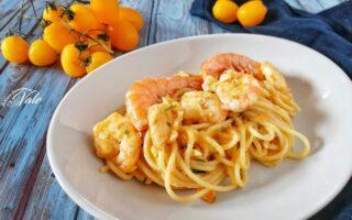 Spaghetti con Gamberi e Pomodorini Gialli