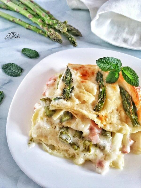 Lasagne agli Asparagi con prosciutto e mozzarella